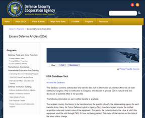 Excess Defense Articles Database Tool Cover