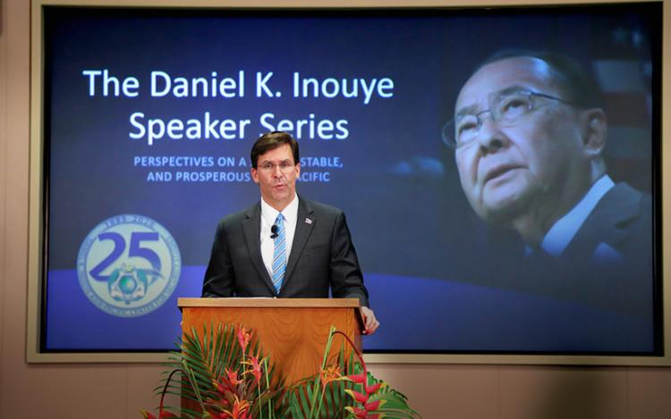 Secretary of Defense Dr. Mark T. Esper provides the keynote address during the Daniel K. Inouye Speaker Series event which also celebrated the 25th Anniversary of the Daniel K. Inouye Asia-Pacific Center for Security Studies in Honolulu Aug. 26.